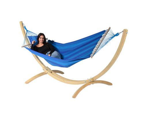 Houpací síť se stojanem pro jednoho 'Wood & Relax' Blue