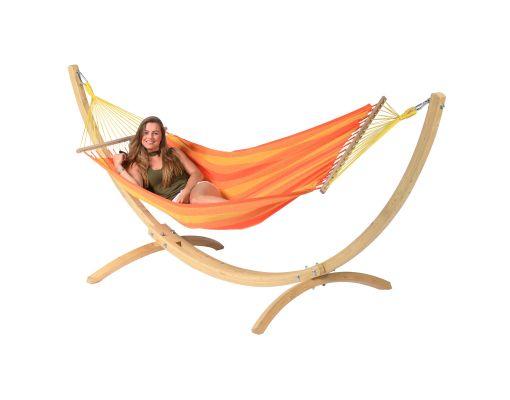 Houpací síť se stojanem pro jednoho 'Wood & Relax' Orange