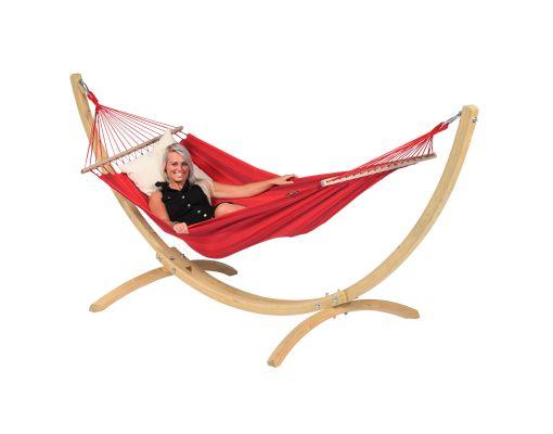 Houpací síť se stojanem pro jednoho 'Wood & Relax' Red