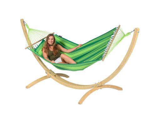 Houpací síť se stojanem pro jednoho 'Wood & Relax' Green
